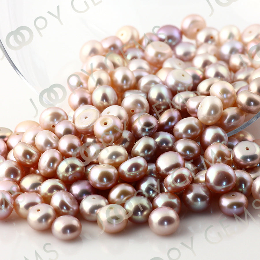 Joopy Gems Purple Freshwater Cultured Pearls Half-Drilled Button 7.5-8mm