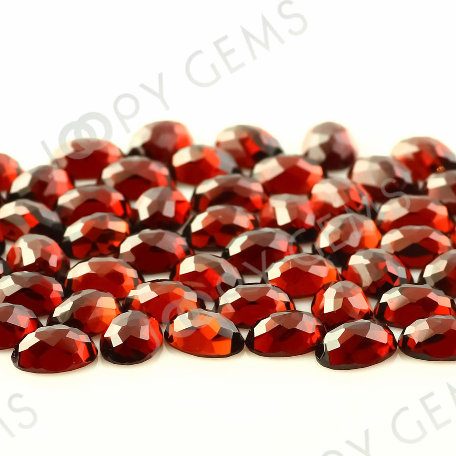 Joopy Gems Almandine Garnet Rose Cut Oval Cabochon 7x5mm FLAT BACK