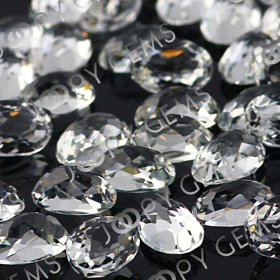 SALE 529 White Topaz Rose Cut Cabochon 7x5mm Oval - per lot of 9 stones