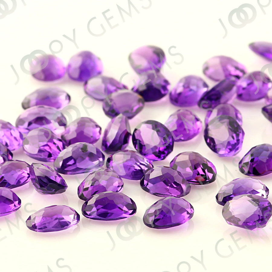SALE 523 Amethyst (African) Rose Cut Cabochon 7x5mm Oval - lots of 5 stones