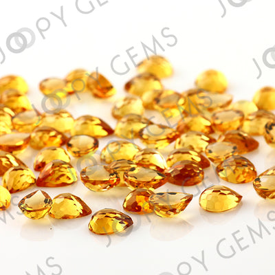Joopy Gems Citrine Rose Cut Pear Cabochon 8x6mm FLAT BACK