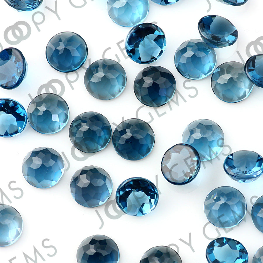 Joopy Gems London Blue Topaz Rose Cut Cabochon 8mm Round