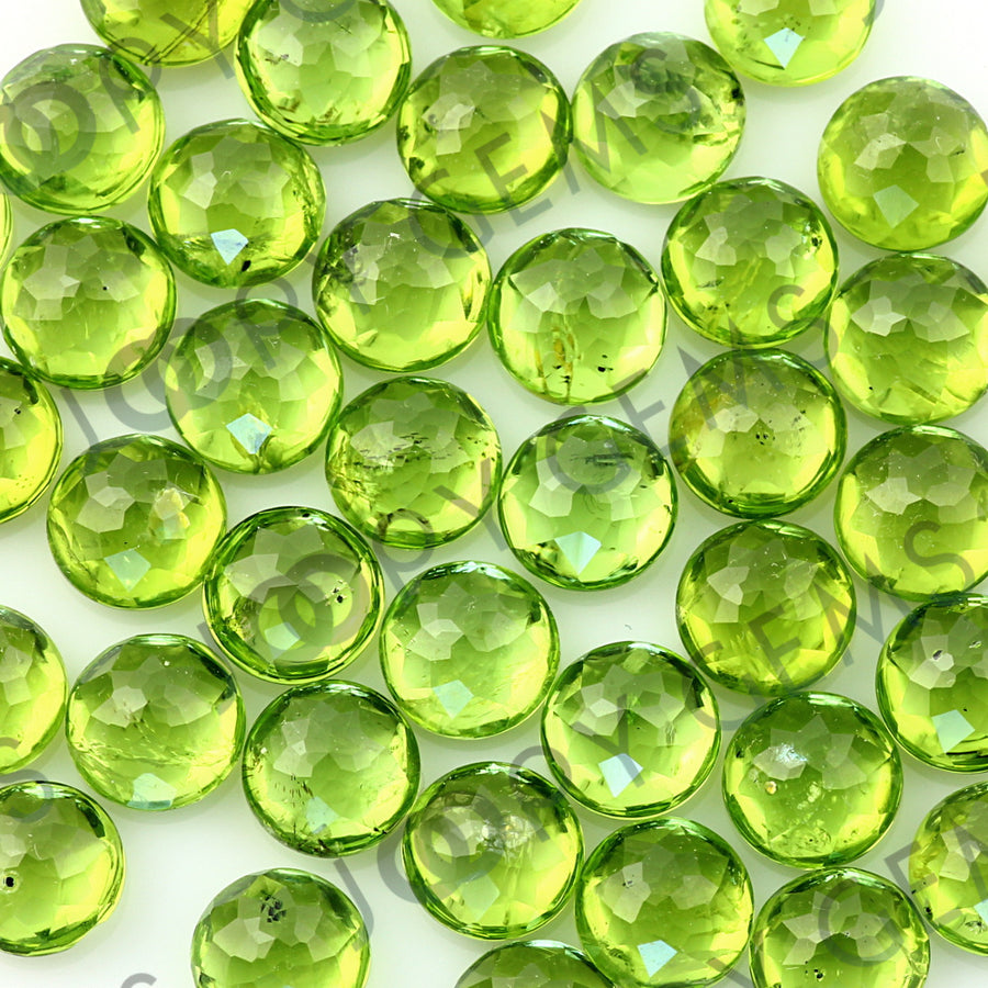 Joopy Gems Peridot Rose Cut Cabochon 8mm Round