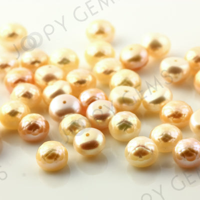 Joopy Gems Pink Cultured Freshwater Pearls Half-Drilled Button 7.5-8mm ROSE CUT