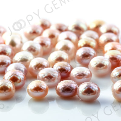 Joopy Gems Purple Cultured Freshwater Pearls Half-Drilled Button 7.5-8mm ROSE CUT
