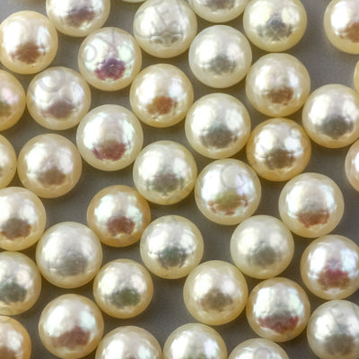 Joopy Gems White Cultured Freshwater Pearls Half-Drilled Button 7.5-8mm ROSE CUT