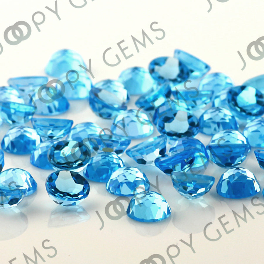 Joopy Gems Swiss Blue Topaz Rose Cut Cabochon 8mm Round