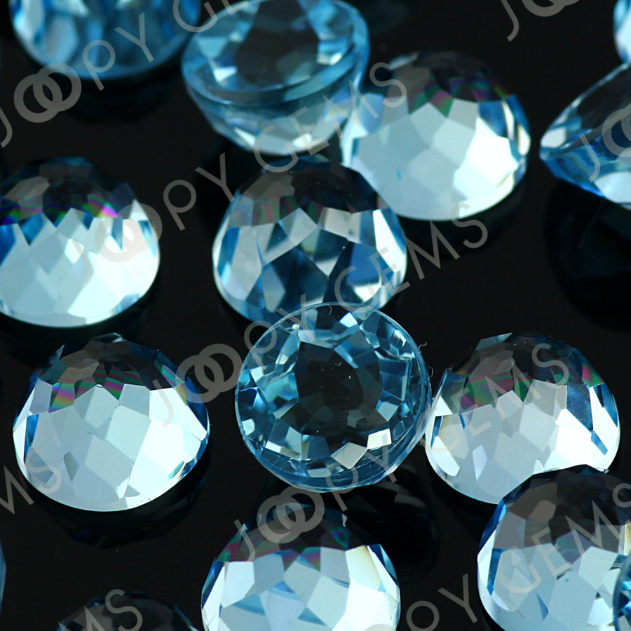 Joopy Gems Sky Blue Topaz Rose Cut Cabochon 8mm Round