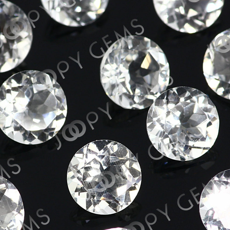 Joopy Gems White Topaz Brilliant Cut 8mm Round