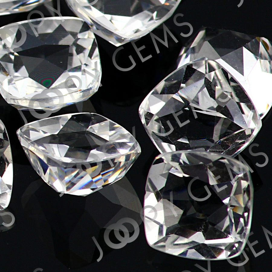 SALE 535 White Topaz Rose Cut Cabochon 8mm Cushion - per lot of 2 stones