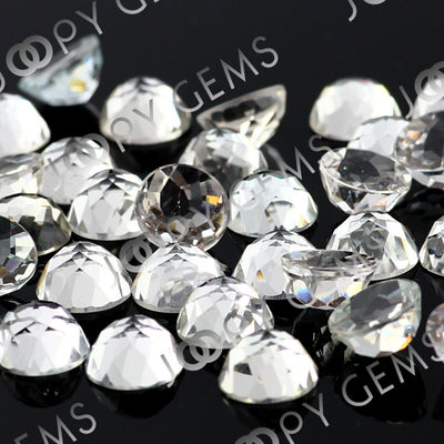 Joopy Gems White Topaz Rose Cut Cabochon 8mm Round