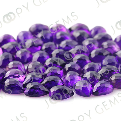 Joopy Gems Amethyst (African) Rose Cut Pear Cabochon 8x6mm FLAT BACK