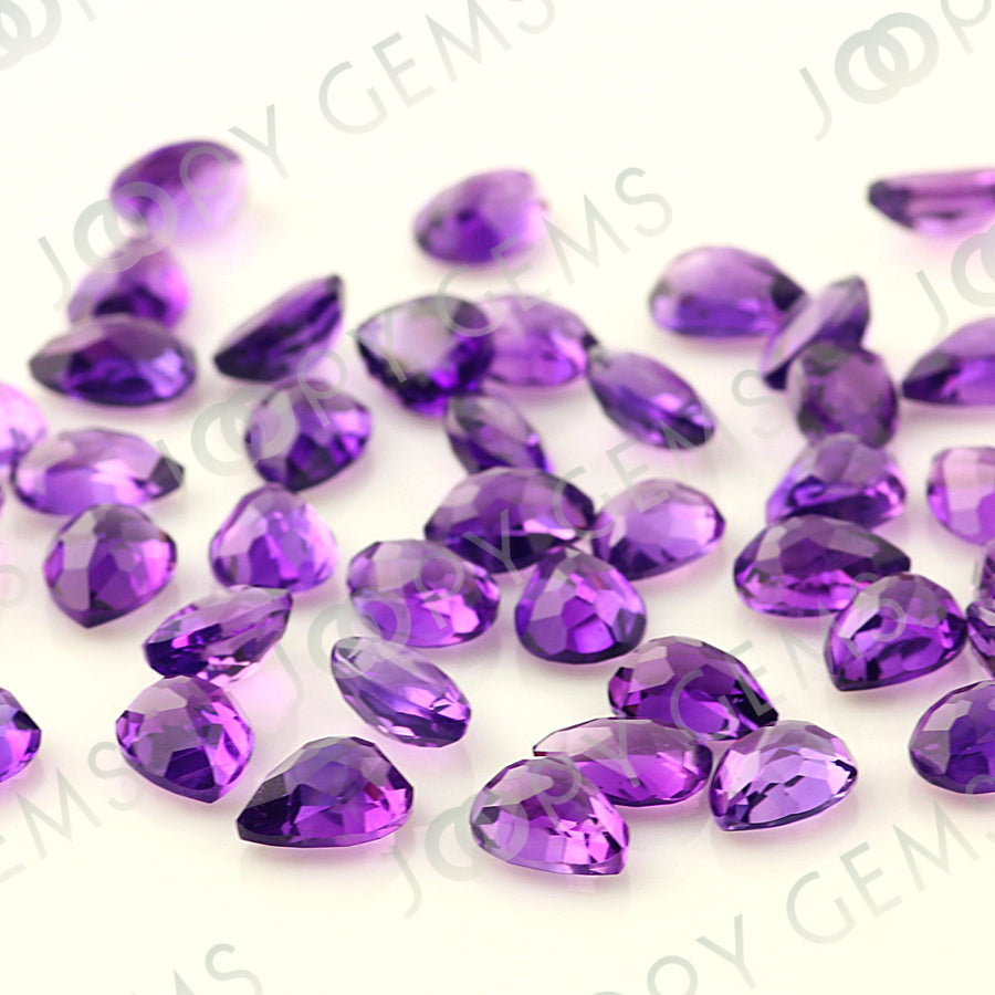 SALE 003 Amethyst (African) Rose Cut Cabochon 8x6mm Pear - per stone