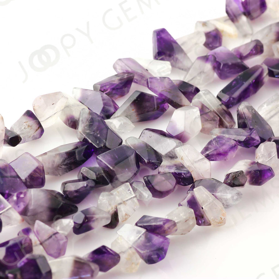 Joopy Gems Amethyst Faceted Tumbled Nugget Beads, Gloss Finish, FULL STRAND, 15-20mm
