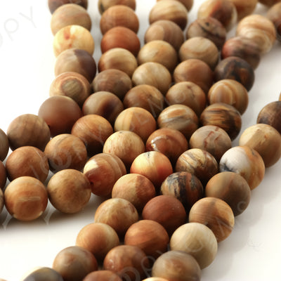Joopy Gems Fossilized wood Beads, Matte Finish, Round, 11-12mm, FULL STRAND,