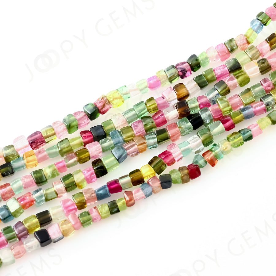 Tourmaline Cube Beads, 2-3mm long approx, A Grade