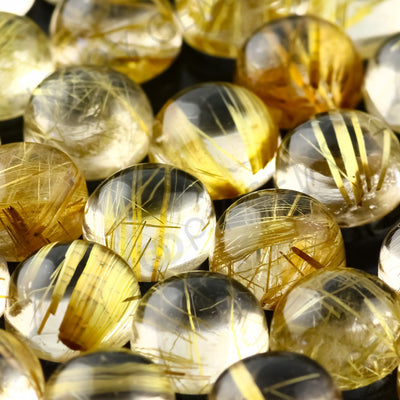Joopy Gems Golden Rutilated Quartz Cabochon 8mm Round