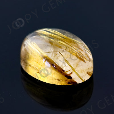 Joopy Gems Golden Rutilated Quartz Cabochon Freesize, 7.66 carats, 14.1x10.2x7.1mm