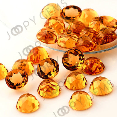 Joopy Gems Citrine Rose Cut Cabochon 10mm Round