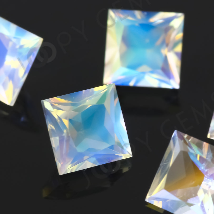 Rainbow Moonstone Princess Cut Gemstone 5mm Square