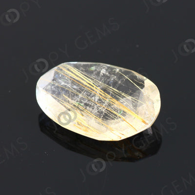 Joopy Gems Golden Rutilated Quartz Rose Cut Freeform, 4.525 carats, 16.2x10.9x3.8mm