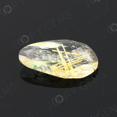 Joopy Gems Golden Rutilated Quartz Rose Cut Freeform, 3.36 carats, 17.1x11.5x2.8mm