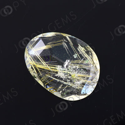 Joopy Gems Golden Rutilated Quartz Rose Cut Freeform, 5.635 carats, 16.1x12.1x4.1mm