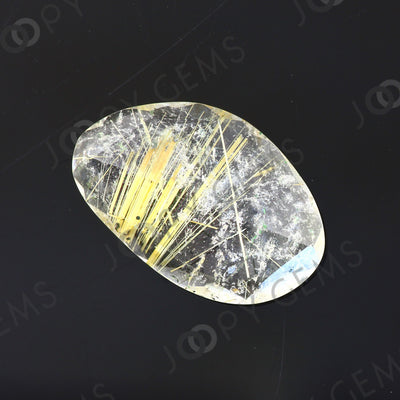 Joopy Gems Golden Rutilated Quartz Rose Cut Freeform, 4.535 carats, 16.8x10.7x3.8mm