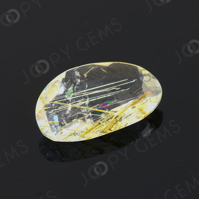 Joopy Gems Golden Rutilated Quartz Rose Cut Freeform, 6.295 carats, 18.7x11.5x4.3mm