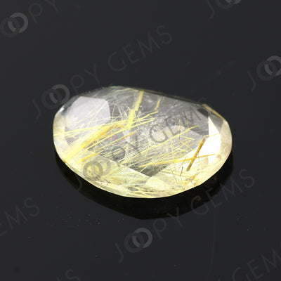 Joopy Gems Golden Rutilated Quartz Rose Cut Freeform, 8.35 carats, 18.4x14.3x4.8mm