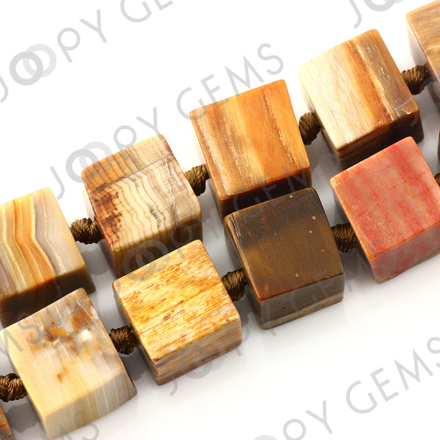 Joopy Gems Fossilized Wood Beads, 15-16mm, matt finish LOOSE BEADS