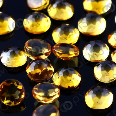 Joopy Gems Citrine Rose Cut Cabochon 3mm Round