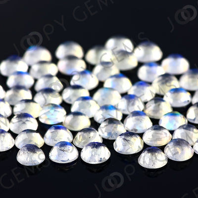 SALE 081 Rainbow Moonstone AA Rose Cut Cabochon 3mm Round - lot of 10 stones