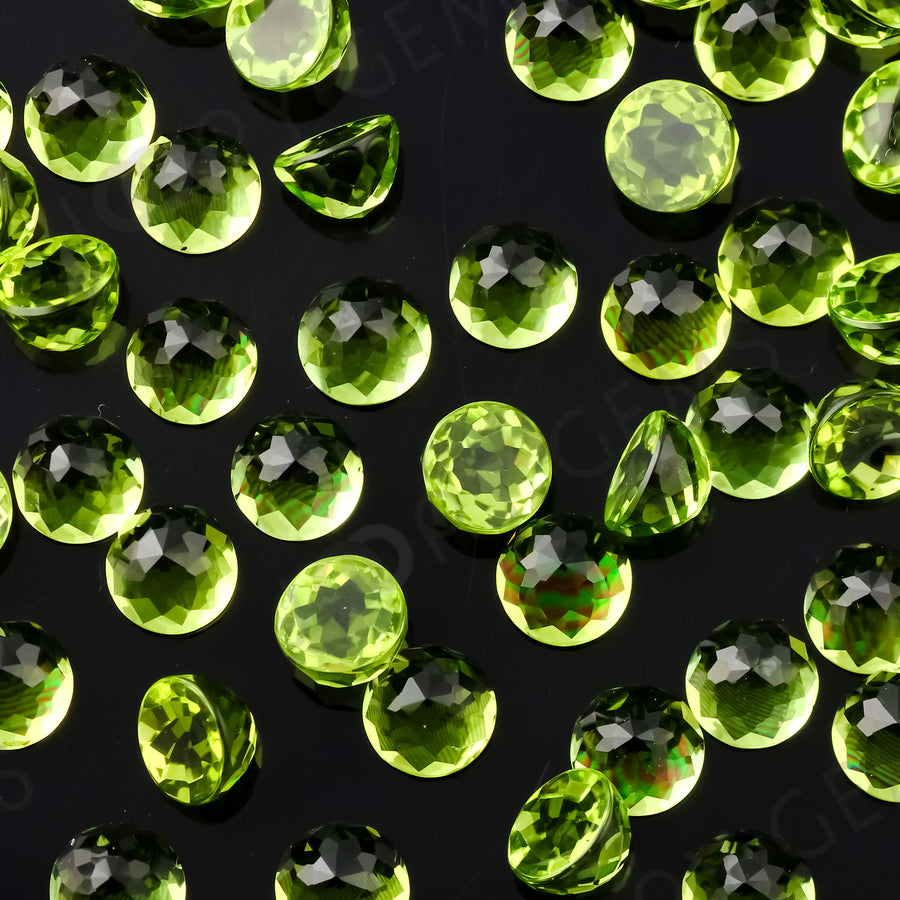 Joopy Gems Peridot Rose Cut Cabochon 5mm Round