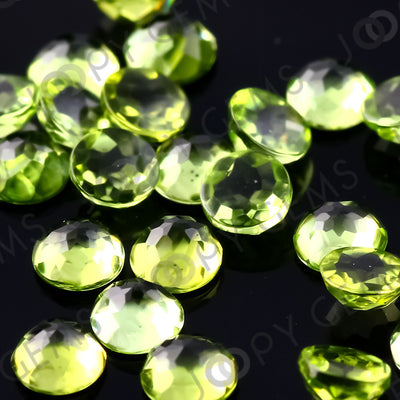 Joopy Gems Peridot Rose Cut Cabochon 3mm Round
