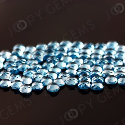 Joopy Gems Swiss Blue Topaz Rose Cut Cabochon 4mm Round