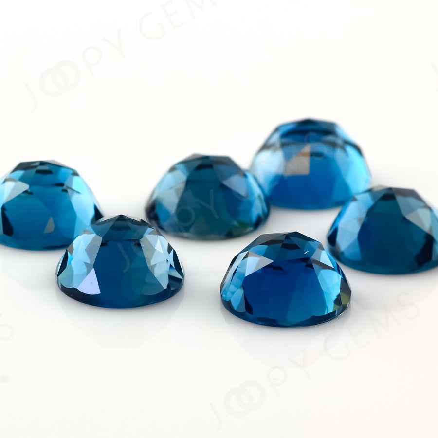 Joopy Gems London Blue Topaz Rose Cut Cabochon 10mm Round