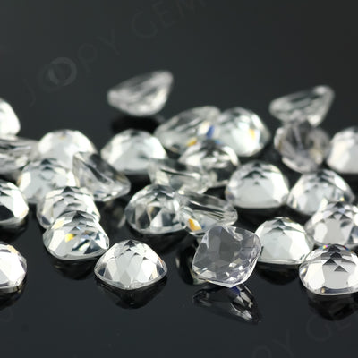 Joopy Gems White Topaz Rose Cut Cabochon 6mm Square Cushion