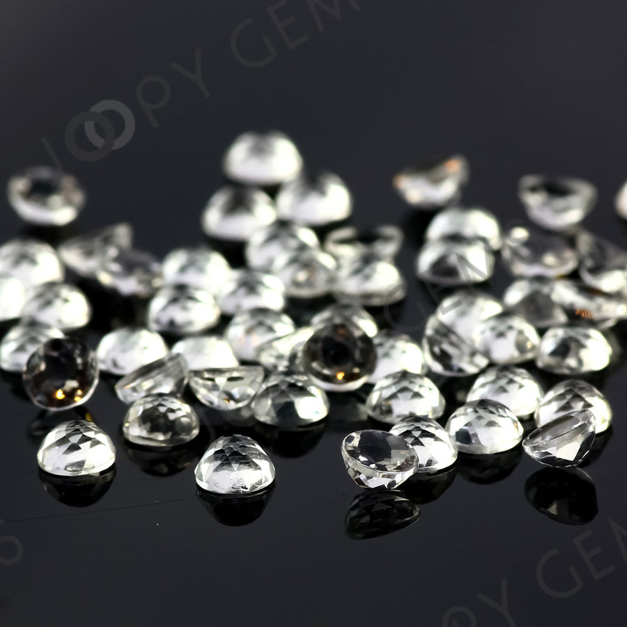 Joopy Gems White Topaz Rose Cut Cabochon 4mm Round