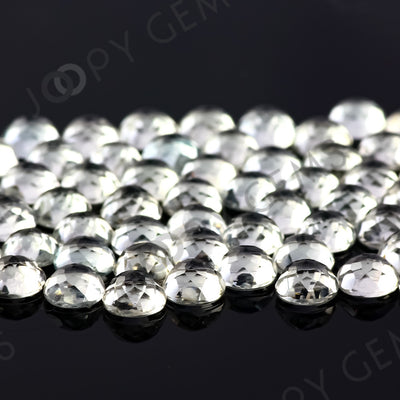Joopy Gems White Topaz Rose Cut Cabochon 5mm Round