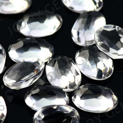 Joopy Gems White Topaz Rose Cut Oval Cabochon 6x4mm