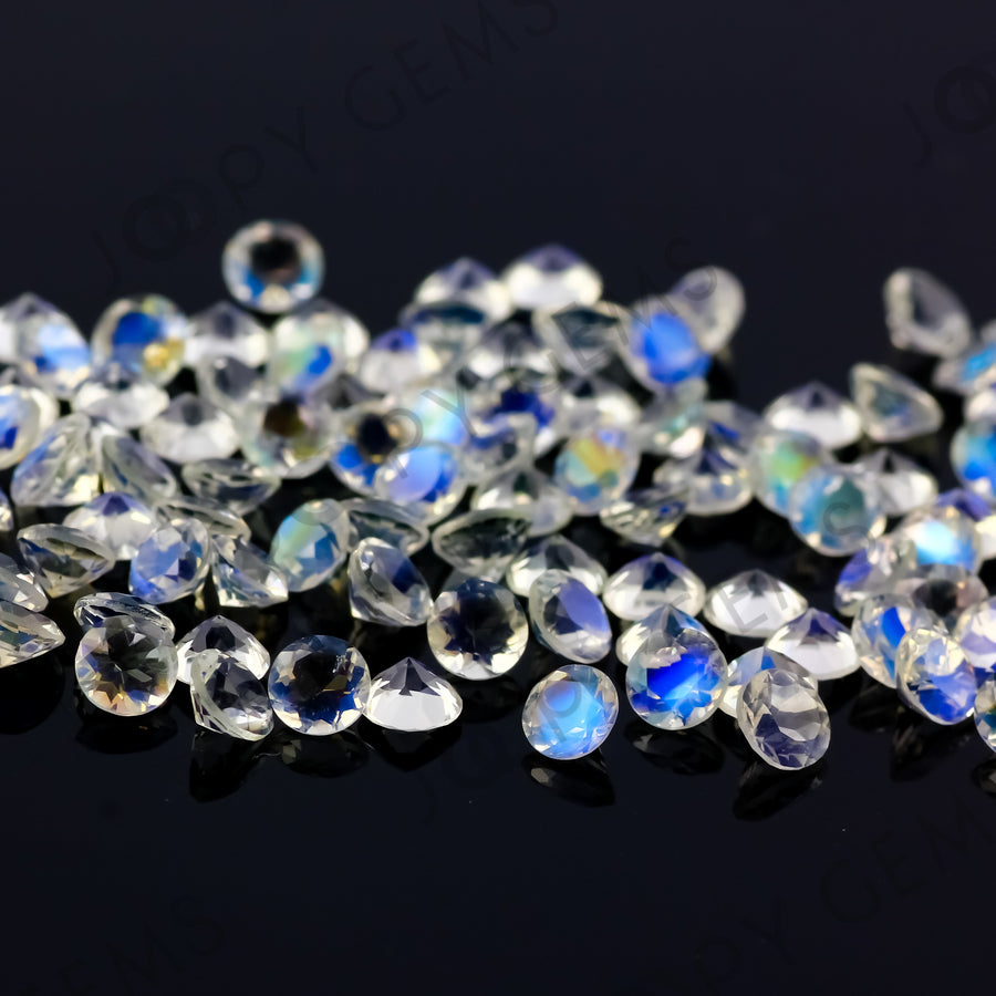 Joopy Gems Rainbow Moonstone Brilliant Cut Gemstone 4mm Round - AA grade