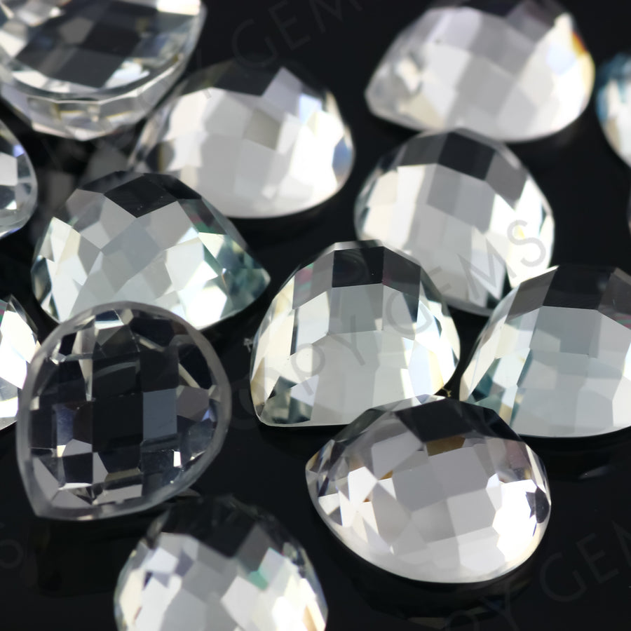 SALE 532 White Topaz Checker 10x12mm Pear - per lot of 2 stones