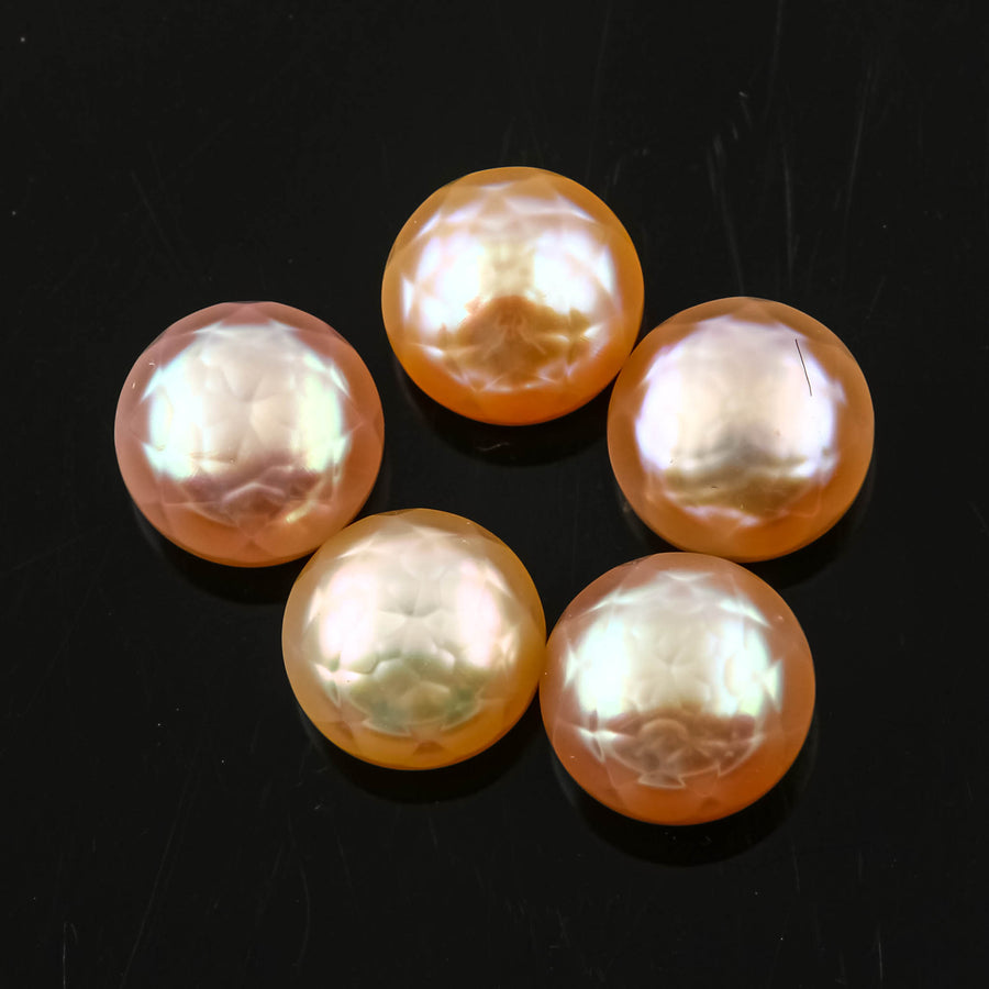 SALE 442 Rose Cut Purple Cultured Freshwater Pearls Half-Drilled 7.5-8mm Button  lot of 5 pearls