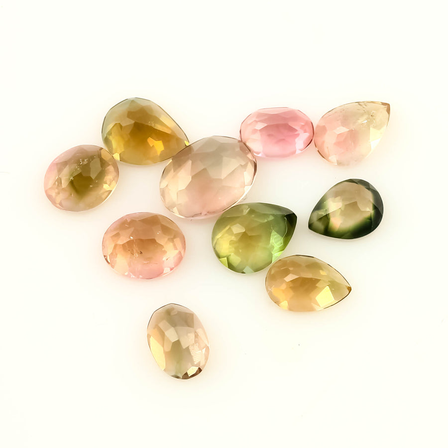 SALE 449 Tourmaline Rose Cut 3x4-6x4mm, 2.5 carats, Ovals & Pears lot of 10 stones
