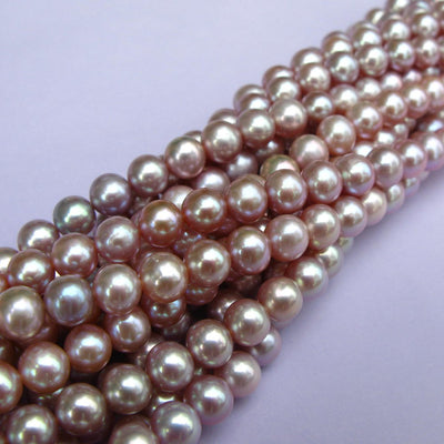 Joopy Gems Purple Cultured Freshwater Round Pearls 6-6.5mm full strand