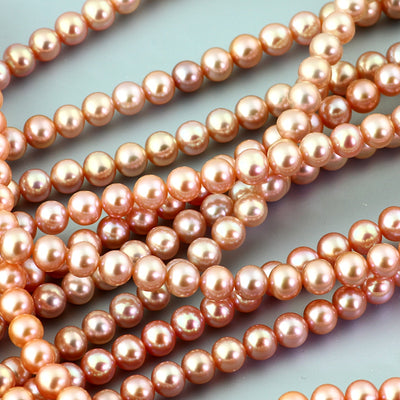 Joopy Gems Pink Cultured Freshwater Round Pearls 6-6.5mm full strand