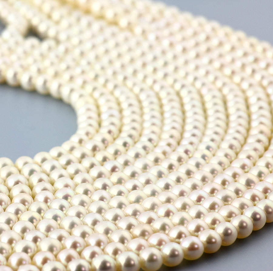 Joopy Gems White Cultured Freshwater Round Pearls 5-5.5mm full strand