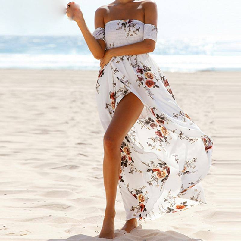 Sexy Off Shoulder Boho Print Long Party Dress