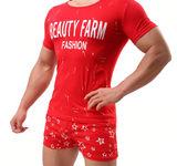 Male Cotton Soft Comfortable Pajamas Short Sleeved